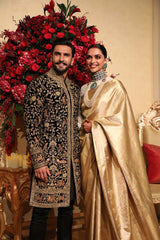 Ranveer Singh Black Color Hand Embroidered Sherwani Set