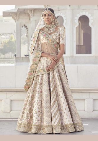 Off-White Color Wedding Lehenga Choli