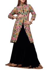 Long jacket black lehenga