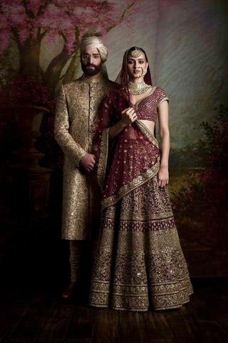 Burgundy Color Heavily Embroidered Wedding Lehenga
