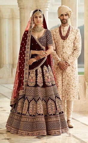 Sabyasachi Inspired Dark Burgandy Wedding Lehenga Choli
