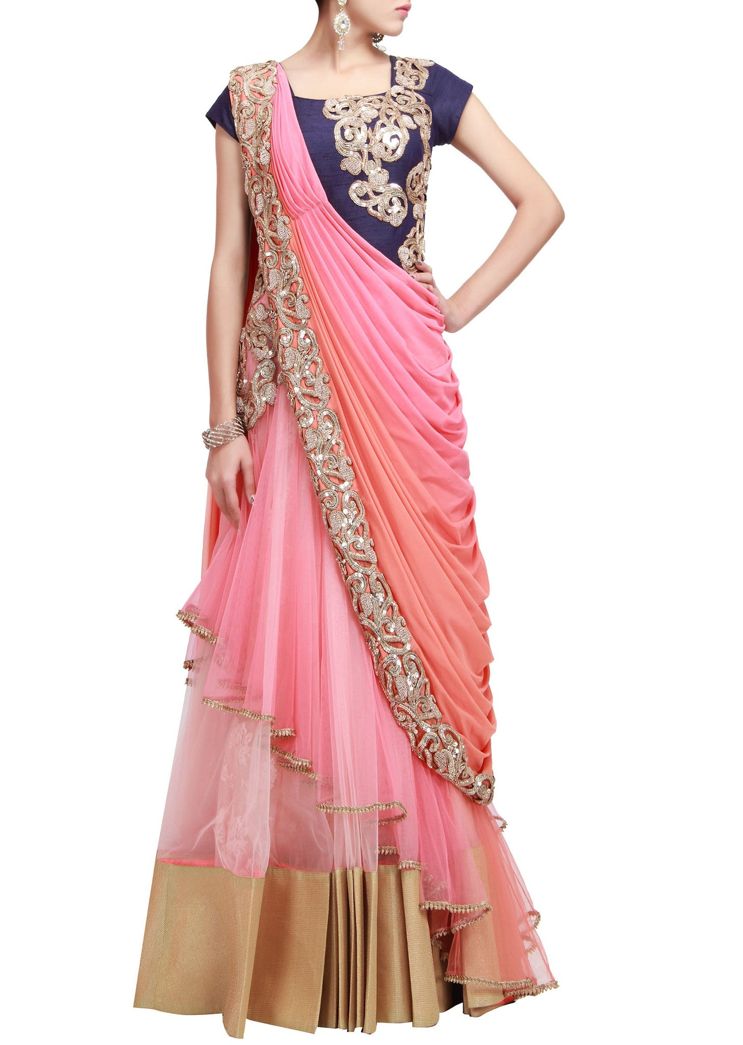 Peach and pink saree gown – Panache Haute Couture