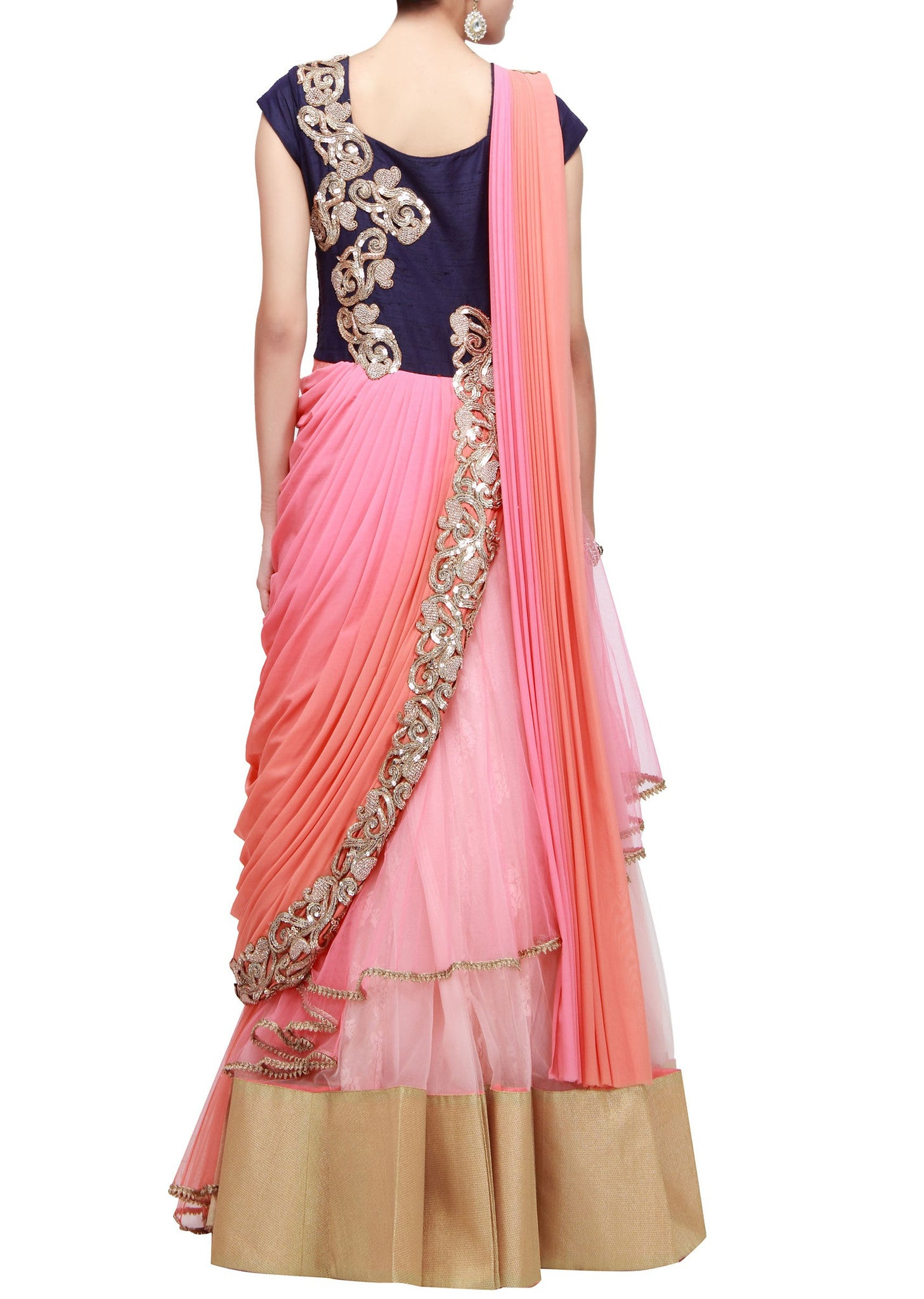 Peach and pink saree gown