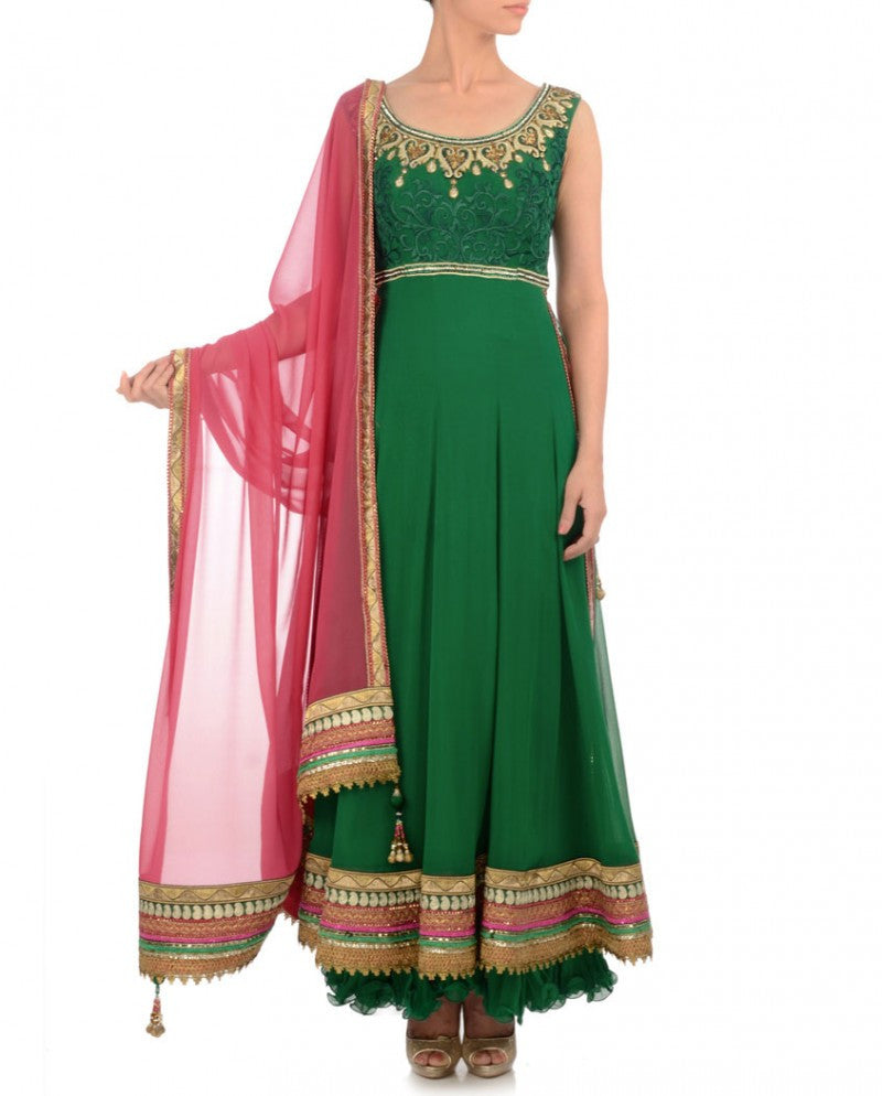 green color long anarkali suit