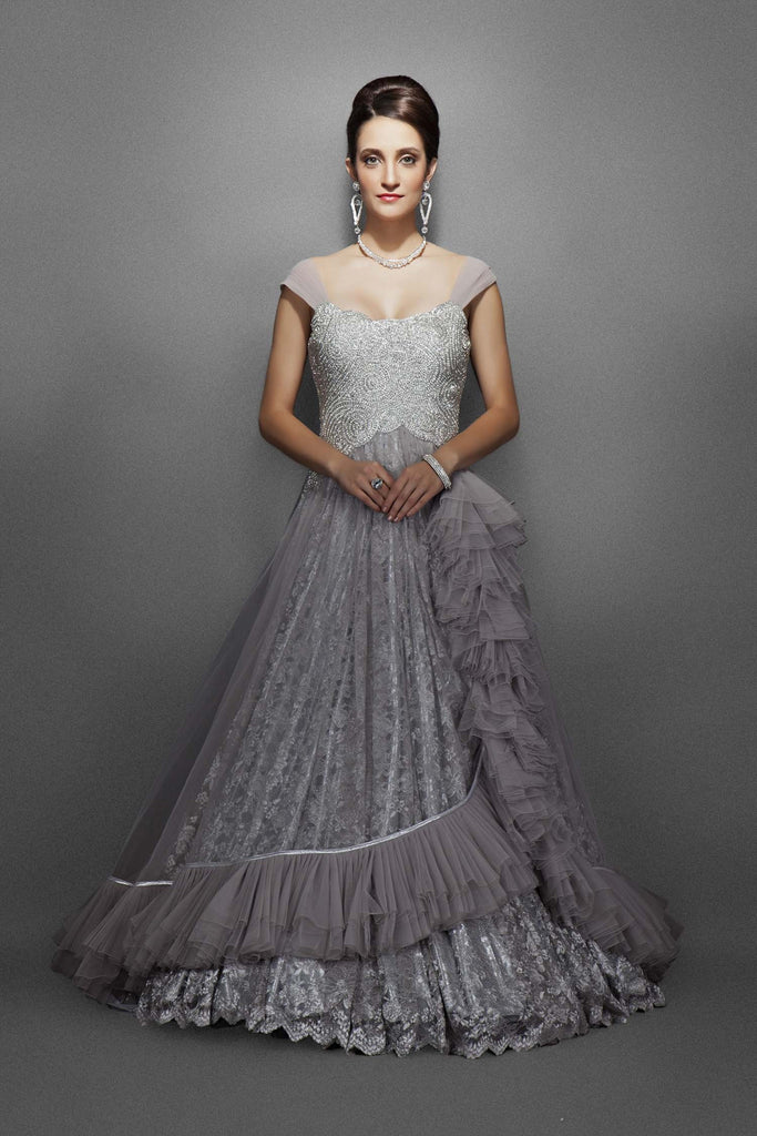 Grey silver color bridal gown