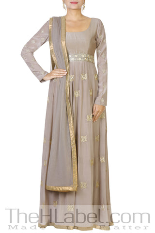 Grey Crepe Anarkali with Golden Greek Motif