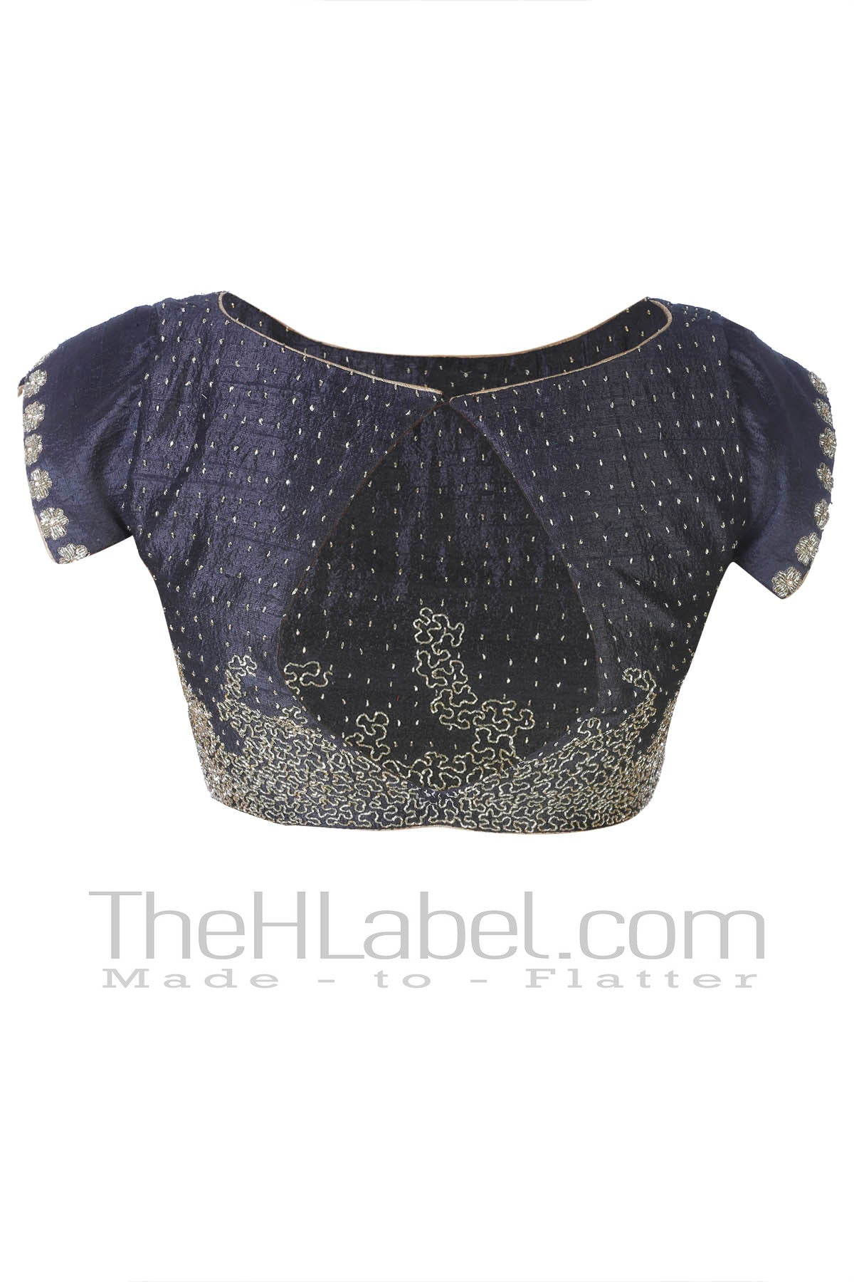 Black Blouse with Golden Cut dana Embroidery