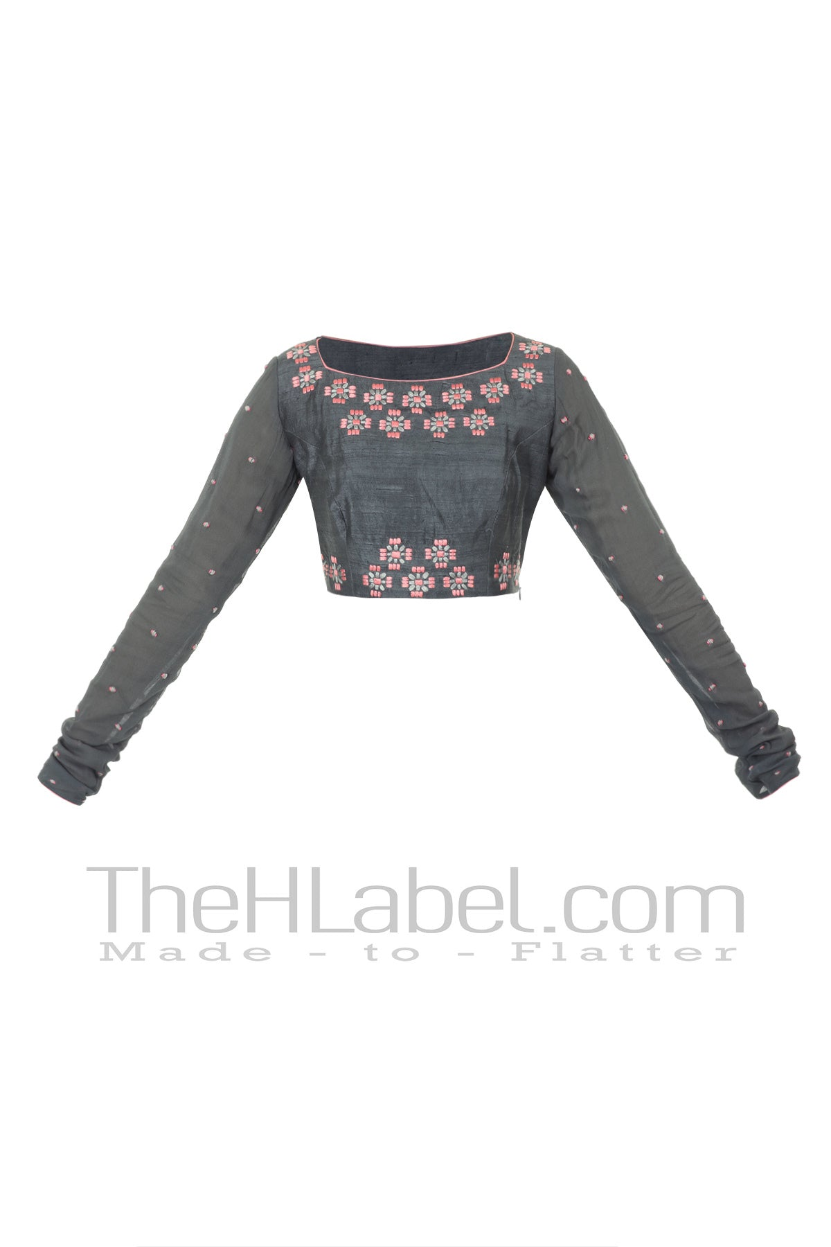 Grey raw silk blouse with machine embroidery