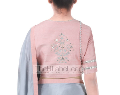 Peach blouse with delicate gotta patti work