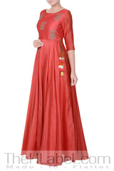 Rouge pink anarkali with rust orange dupatta