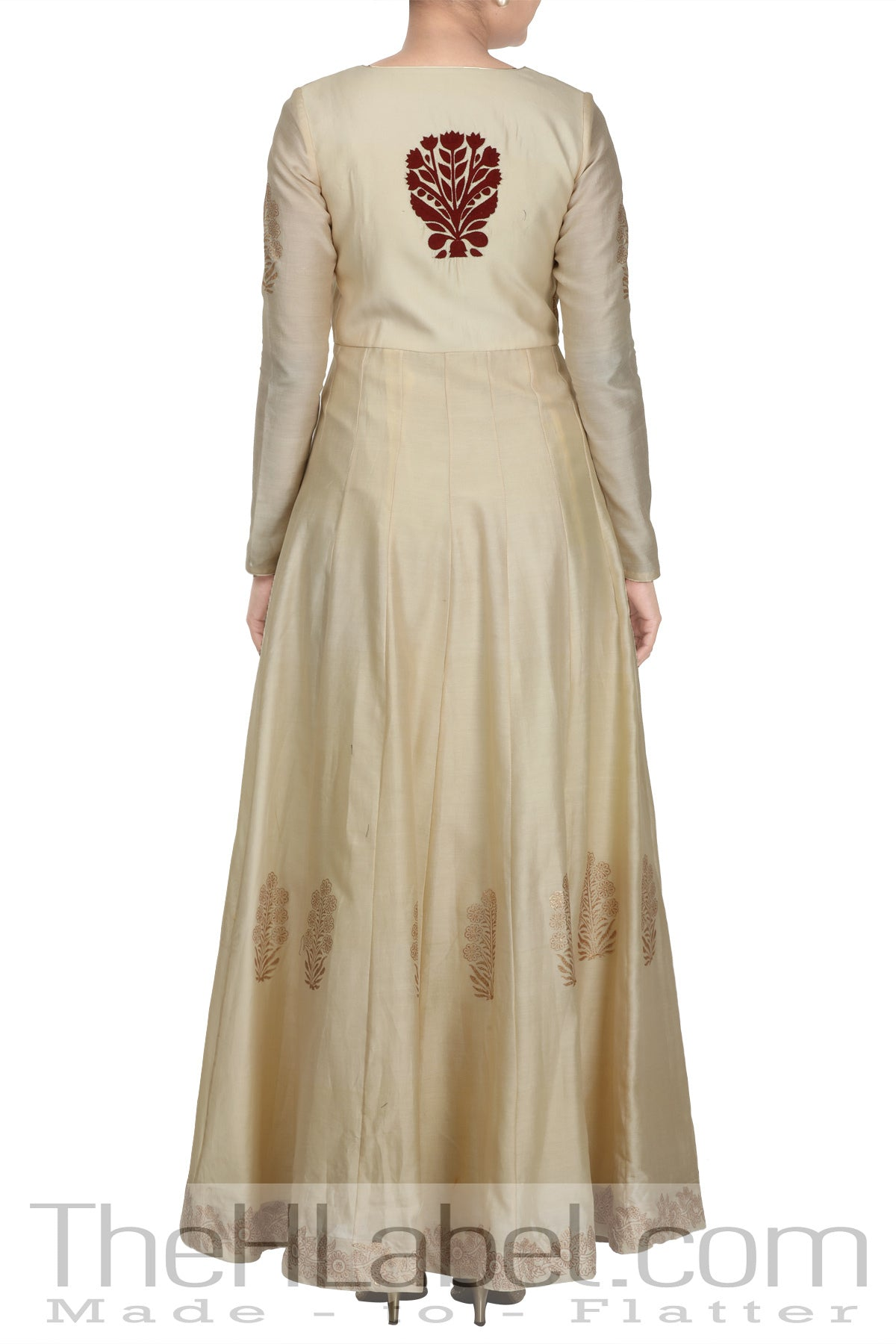 Beige angrakha with embroidery and block print