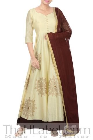 Ivory Anarkali With Purple Border with dupatta