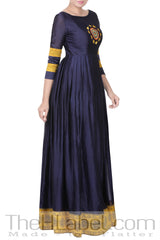 Mustard Yellow & Deep Blue Embroidered Anarkali