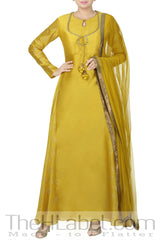 Layered Yellow Anarkali With Block Print & Kundan Embroidery