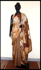 Brown color Hand-painted saree online