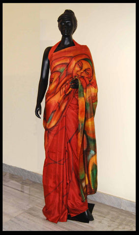 Red Brown Hand-painted saree