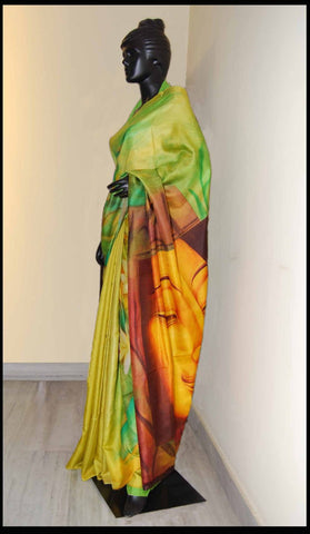 Green Color Hand-painted Saree Online