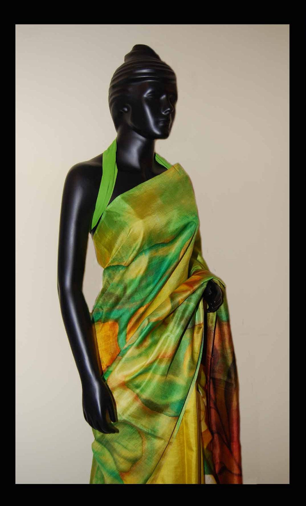 green color hand-painted saree online shopping