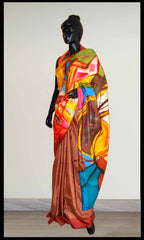 Brown color Hand-painted saree