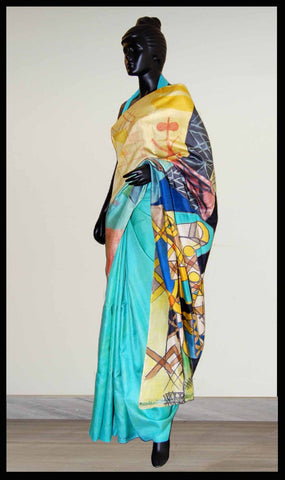 Sea green Hand-painted saree