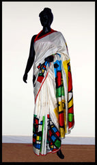 Exclusive White Hand-painted saree