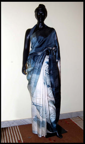 White and grey Hand-painted saree