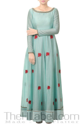 Pastel Blue Embroidered Slit Anarkali With Red Leggings