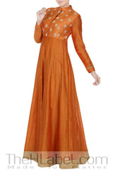 Orange Embroidered Paneled Anarkali With Orange Dupatta