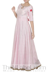 Pastel Pink Embroidered Paneled Anarkali with Hot Pink Dupatta