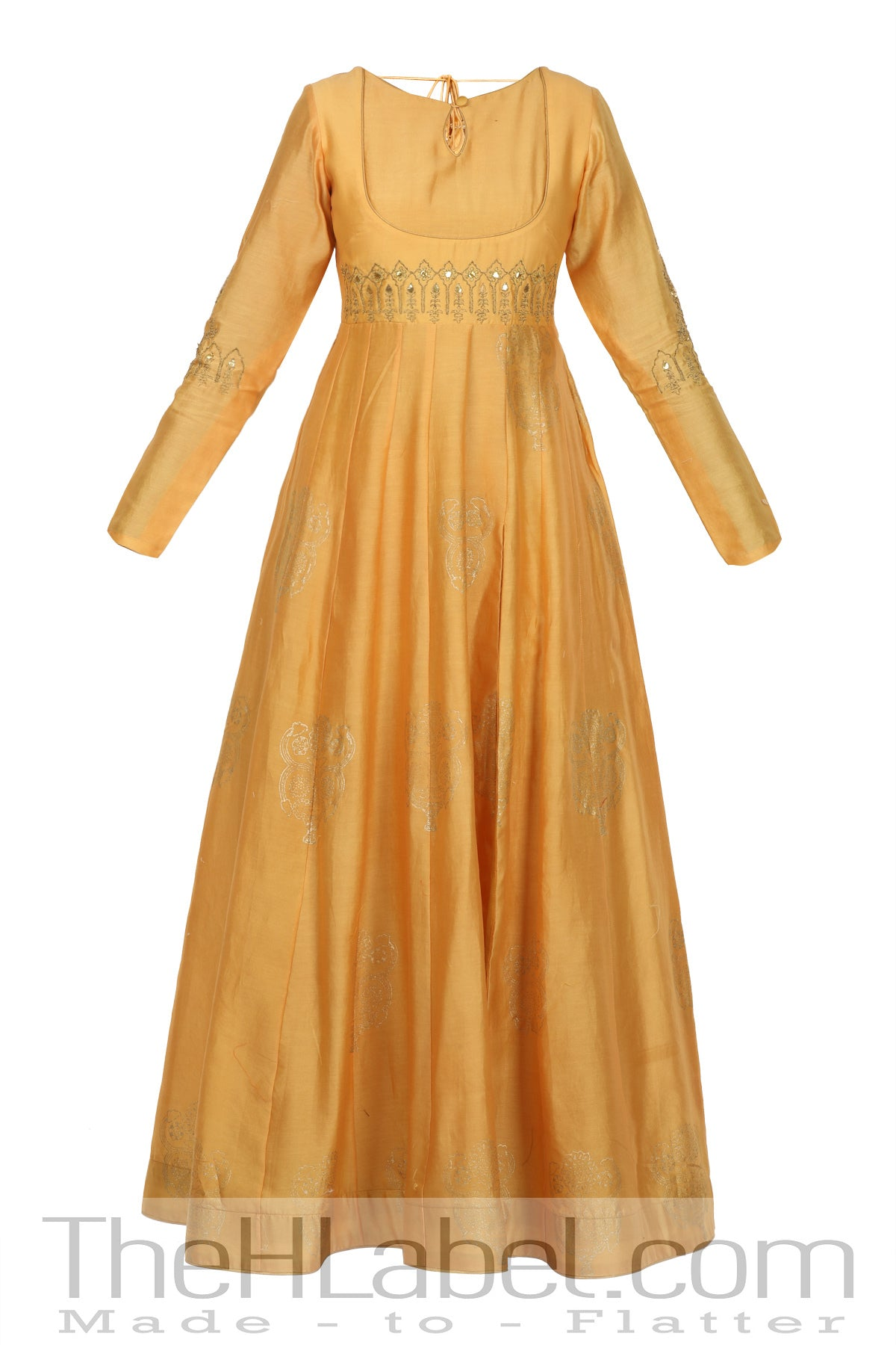 Hand Embroidery Achkan Cape in Mustard Yellow Colour