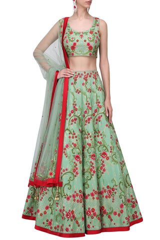 Mint Green Color Lehenga Choli