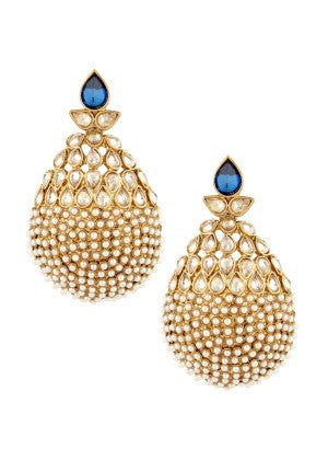 Pearls Designer Earrings with Blue Stone