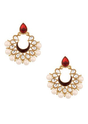 White Pearls Designer Earrings with Red Stone
