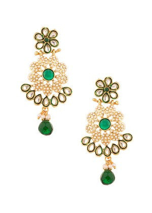 Green with White Pearls Designer Earrings