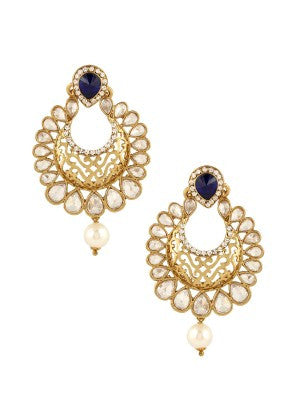 Kundan  Designer Earrings with Blue Stone