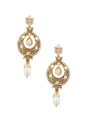 White and Gold Designer Pearls Earrings