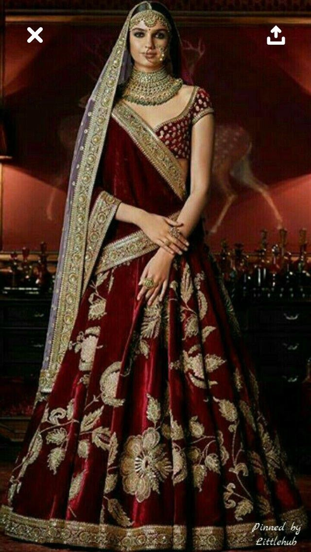 Maroon Color Velvet Lehenga Choli