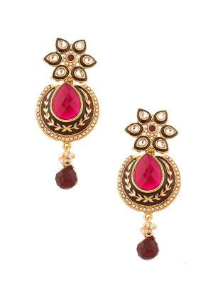 Maroon and Pink Designer Earrings