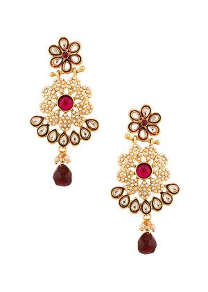 Maroon with White Pearls Designer Earrings