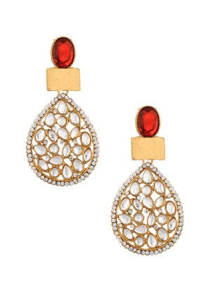 Red Stone Designer Earrings with Pearls