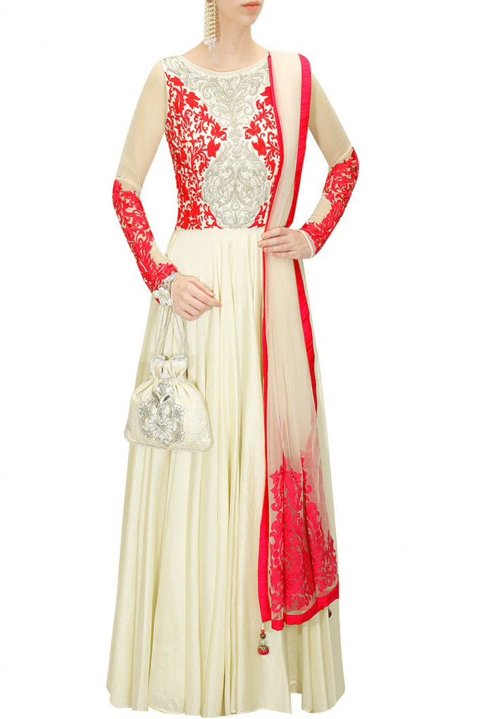 Ivory colour floor length