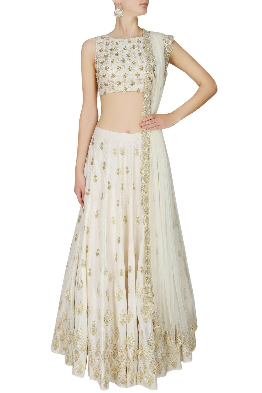 Ivory lehenga choli with gold embroidery