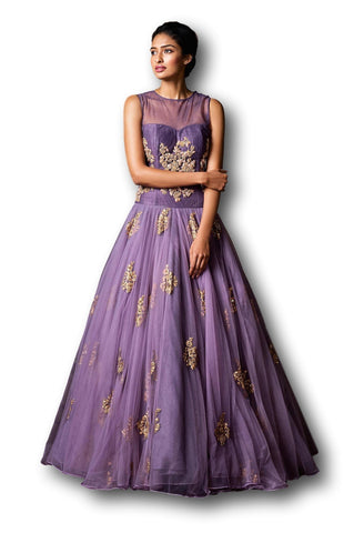 Lavender Color Floor Length Gown