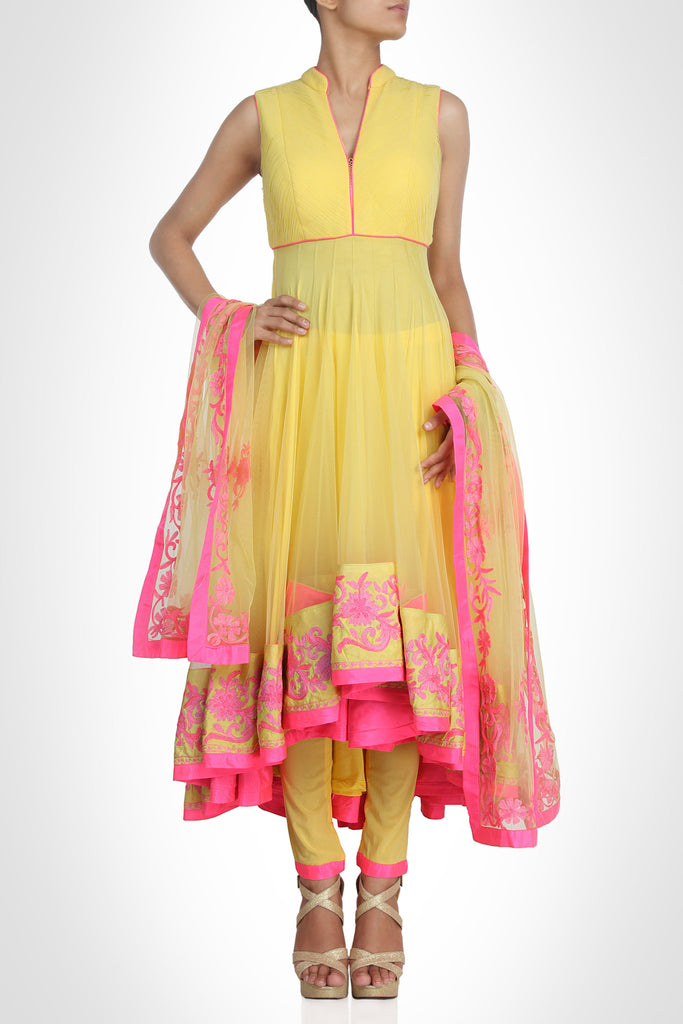 lemon color anarkali suit online