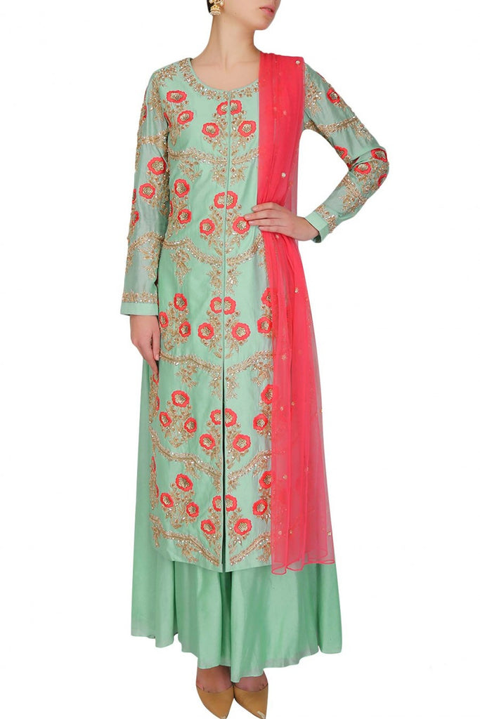 Light green color kurta set with plazzo