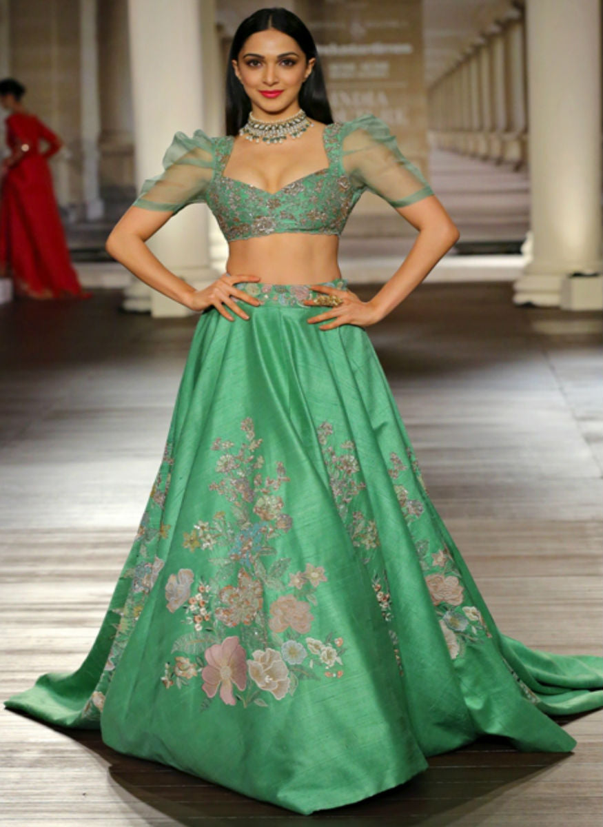 Light Green Color Raw Silk Lehenga