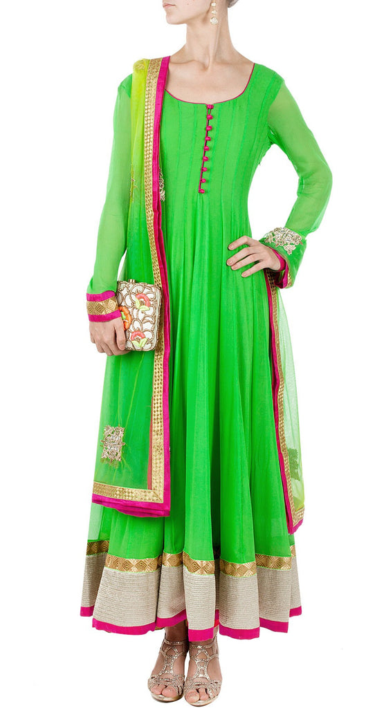 Parrot green long anarkali