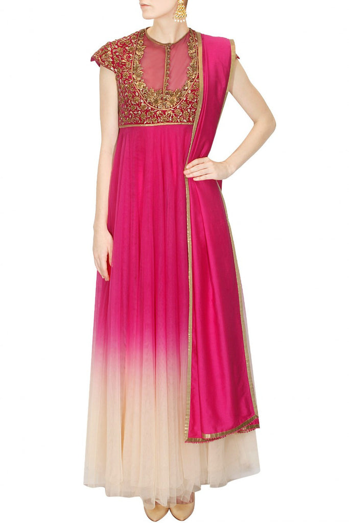 Magenta and Ivory shaded anarkali suit