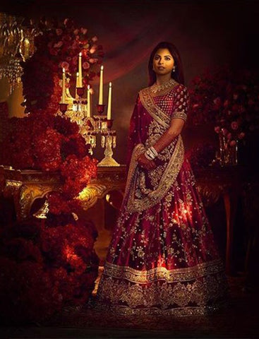 Deep Red Color Velvet Silk Wedding Lehenga
