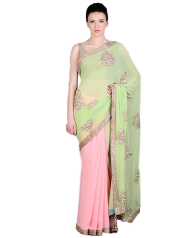 Pink and green party wear saree